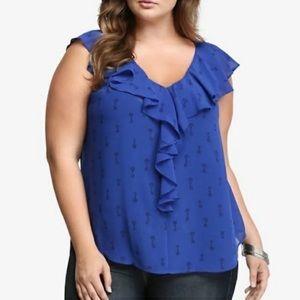 Torrid key print semi sheer ruffle blouse